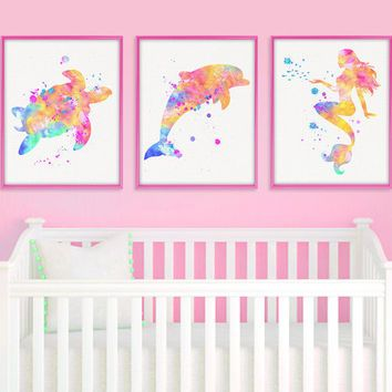 Baby girl nursery decor nautical nursery girl bathroom wall art sea life prints
