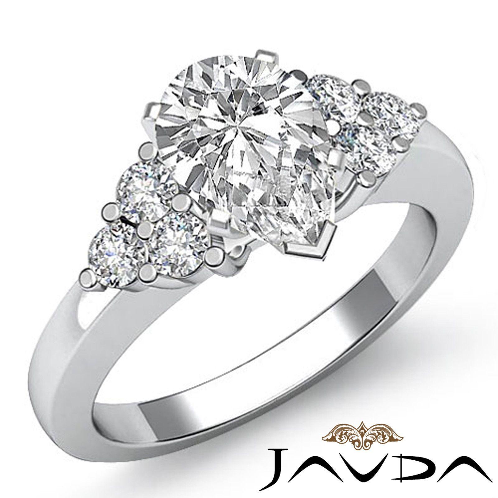 Pear diamond ideal three stone engagement ring gia f si k white