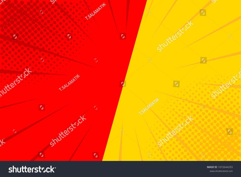 Pop Art Retro Comic Yellow And Red Background Versus Lightning