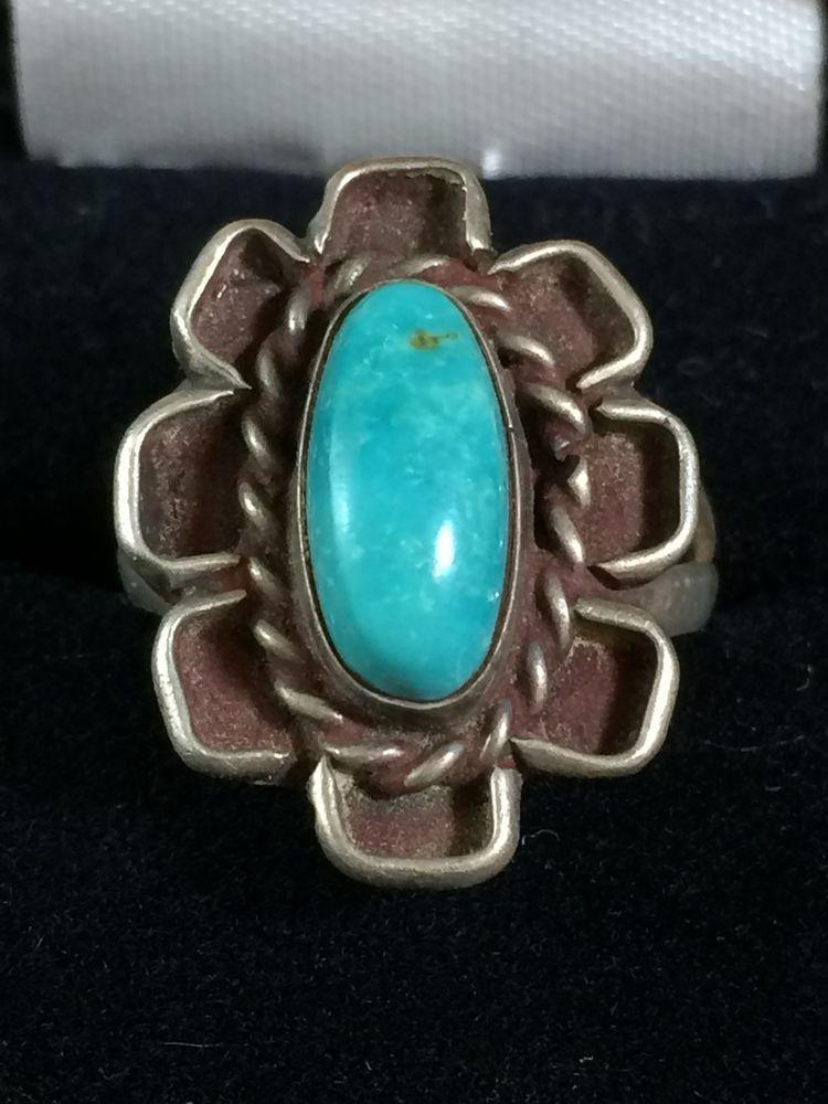 Southwestern Sterling Turquoise Flower Floral Vintage Boho Ring ...