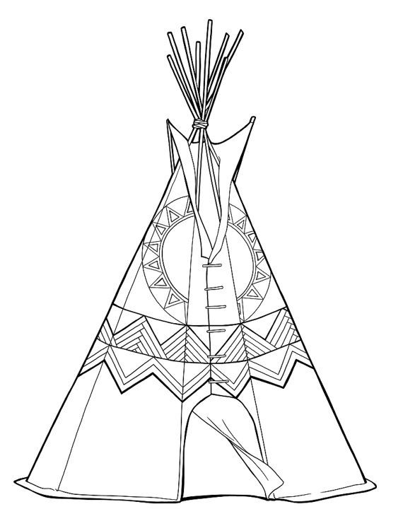 Teepee Colouring Page Digital Printable Black By Littlefleetwood 2 00 Digital Printables Coloring Pages Color