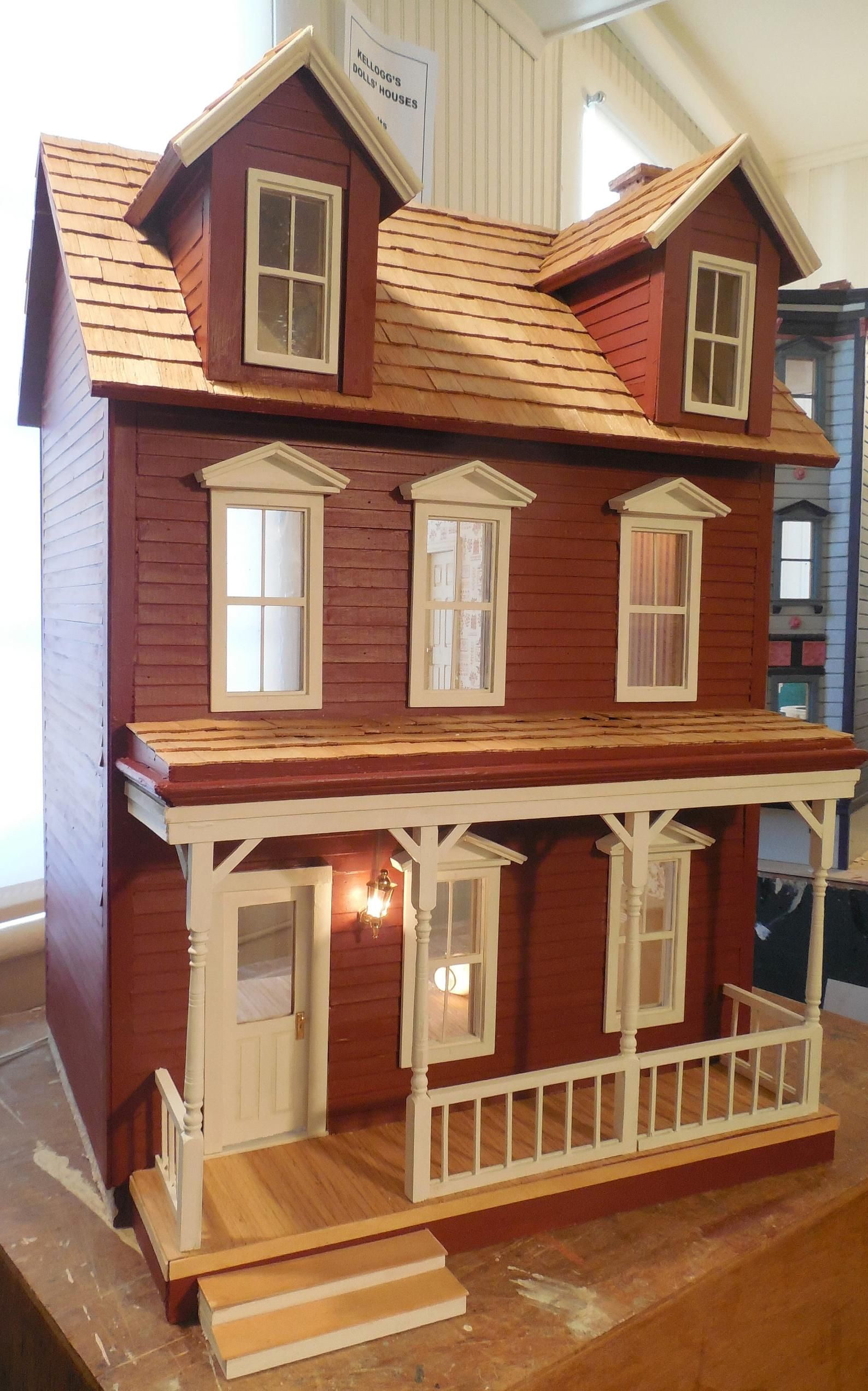 RED WOOD DORMERED Rustic Farmhouse Dollhouse Clapboard