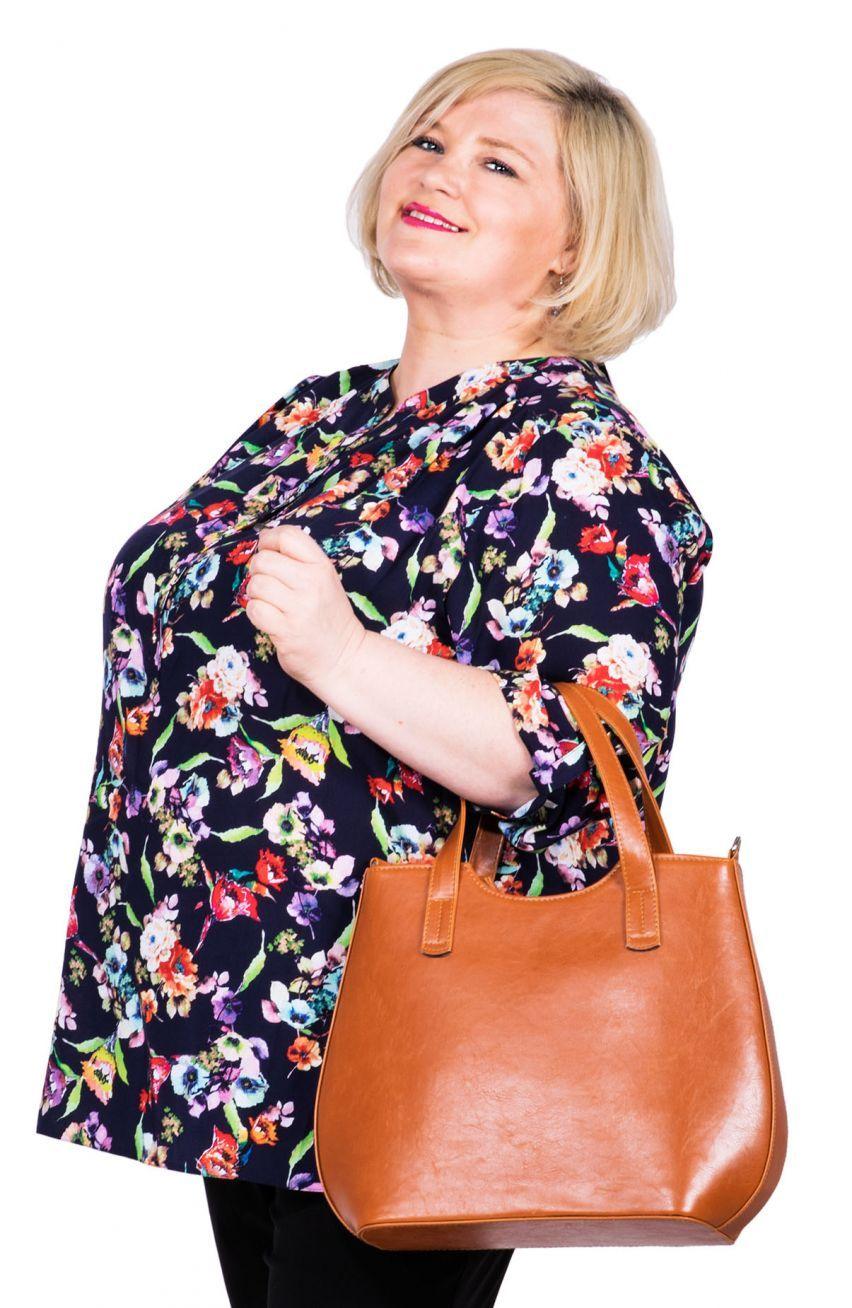 Luzna Granatowa Bluzka Koszulowa W Kwiaty Fashion Bucket Bag Tote Bag