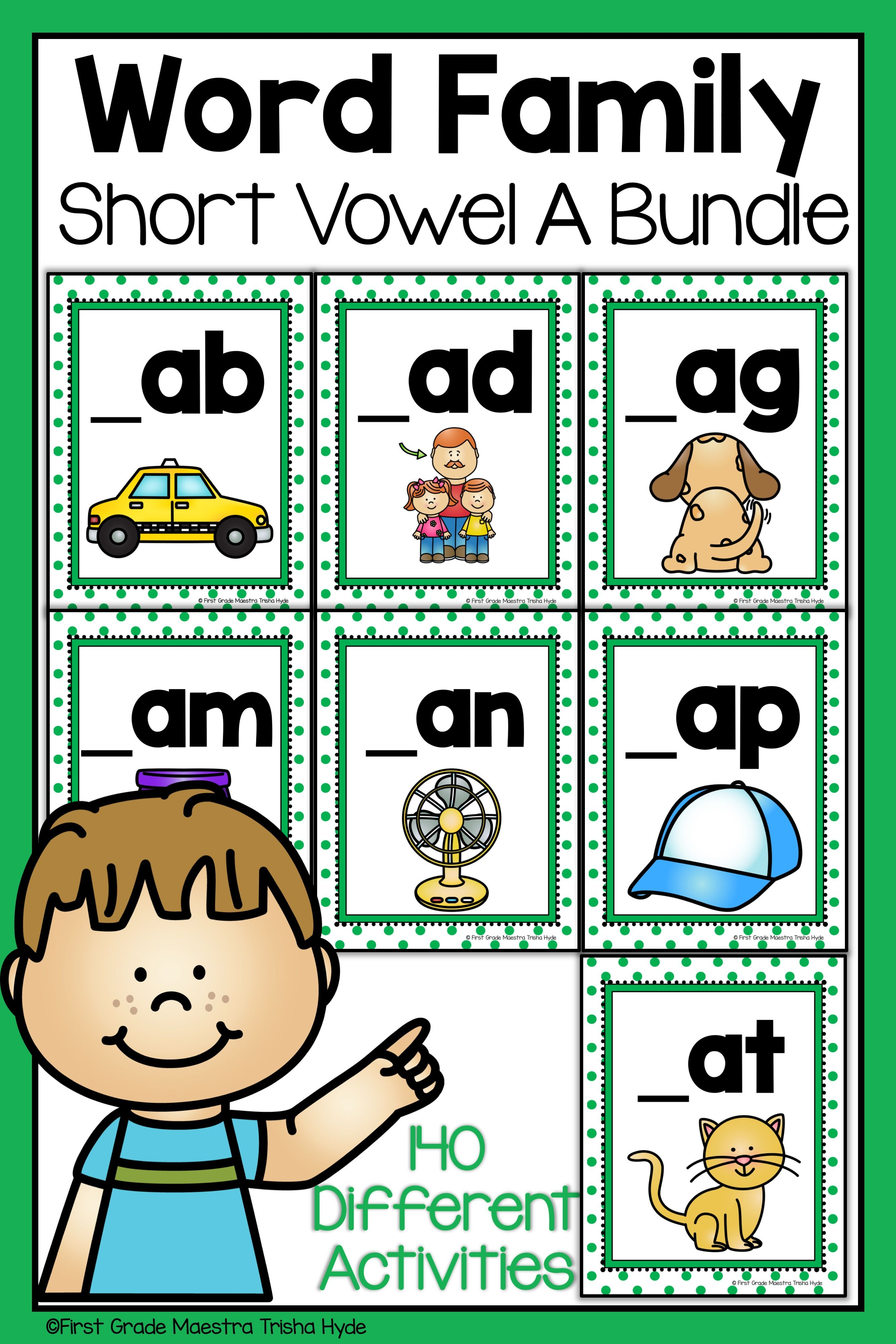 Word Family Short Vowel A Word Work Bundle
