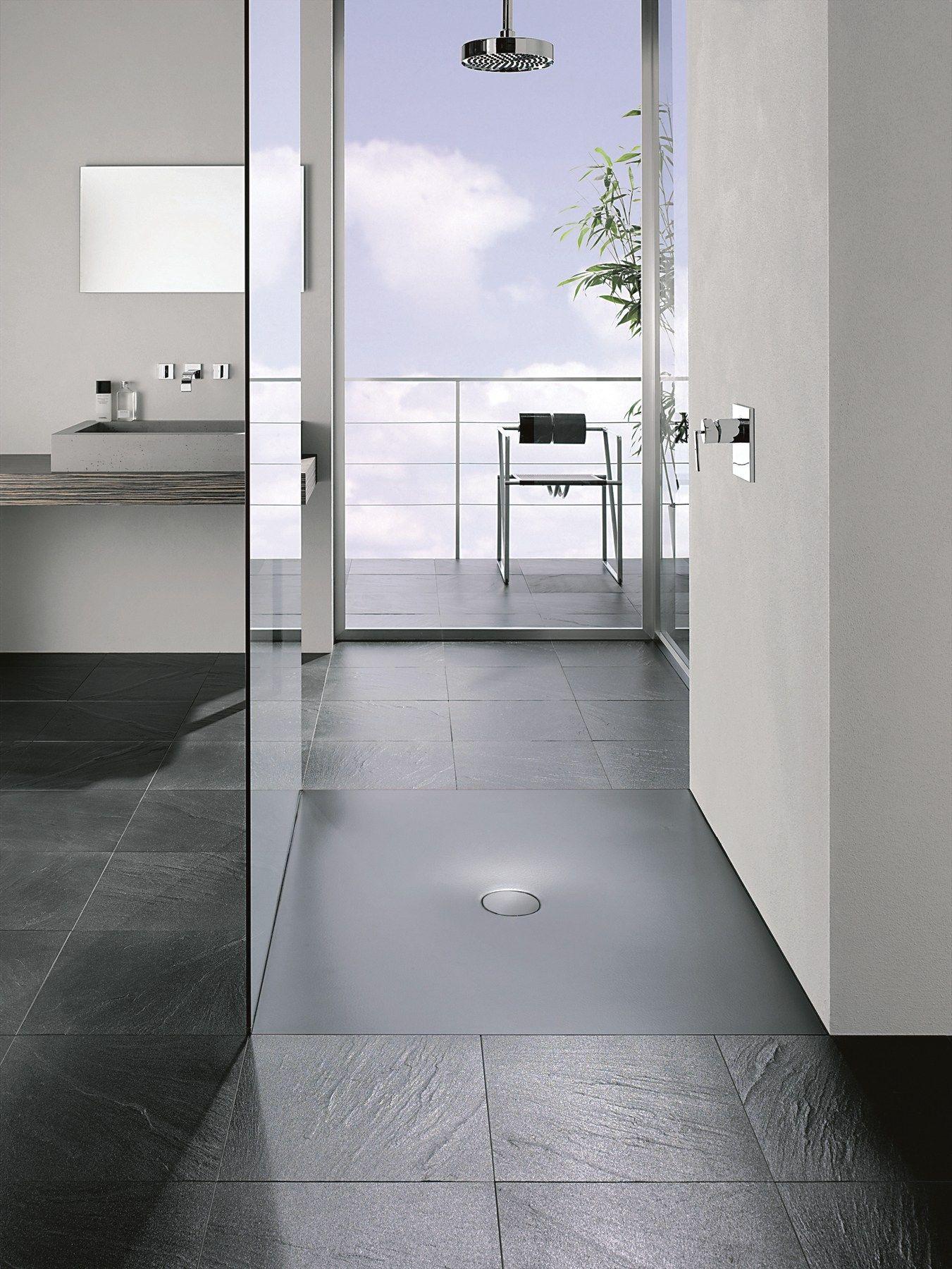 Flush fitting rectangular enamelled steel shower tray