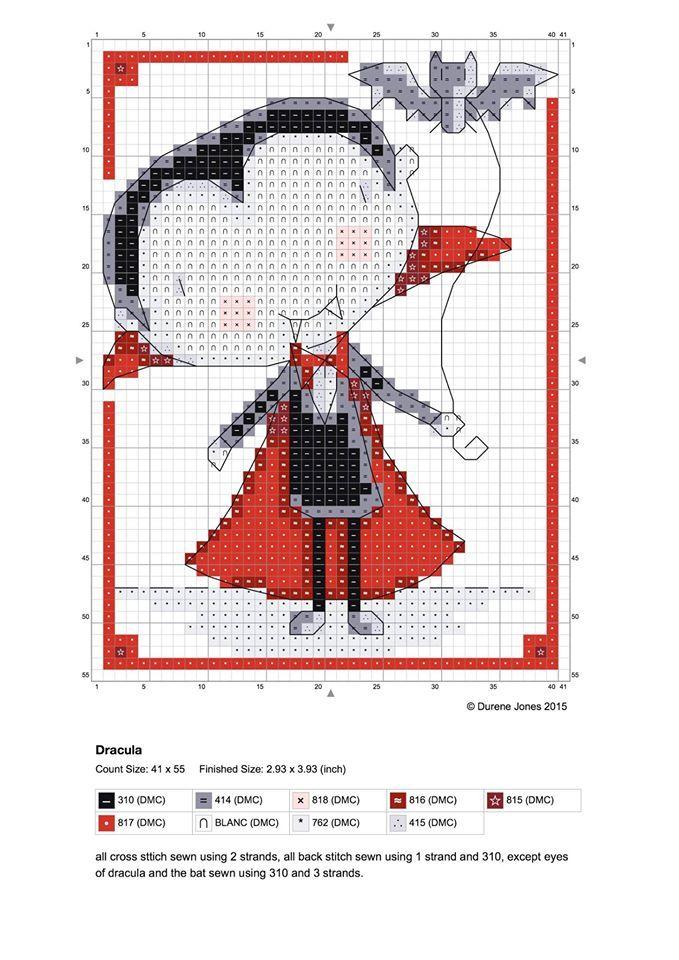 cross stitch design by Durene Jones #free #chart #vampire #halloween ...