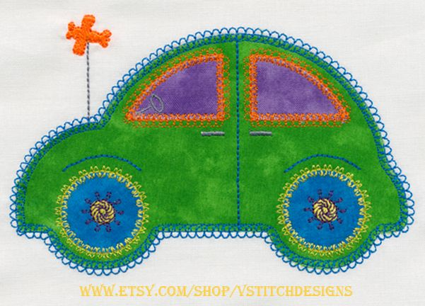 Cute Car 2 set applique machine embroidery design set by V-Stitch.  Can be used with the Accuquilt GO!(TM) Cute Car die (55354) or can be cut by hand using the templates provided.  Have a great stitch!