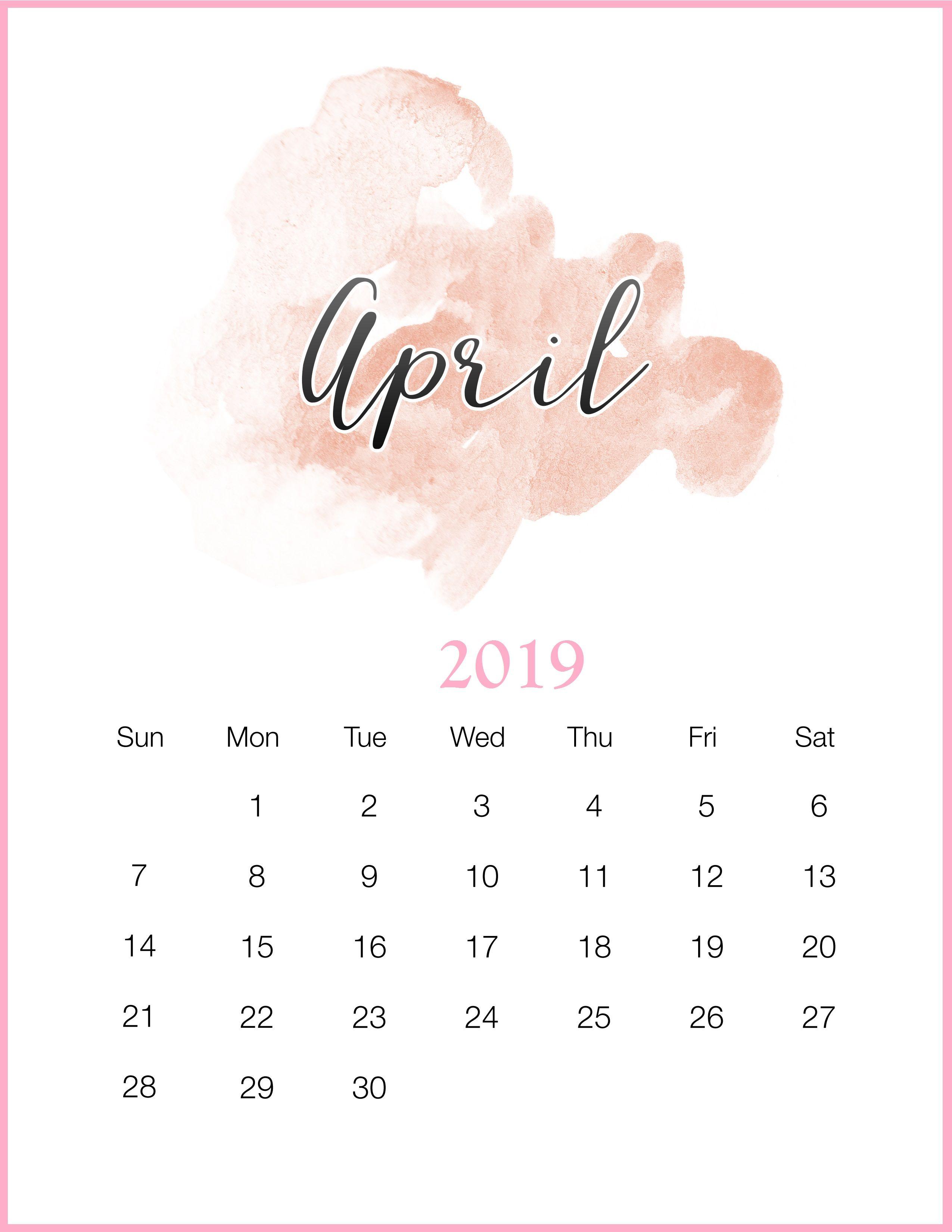 Watercolor 2019 April Printable Calendar | Organizers ...