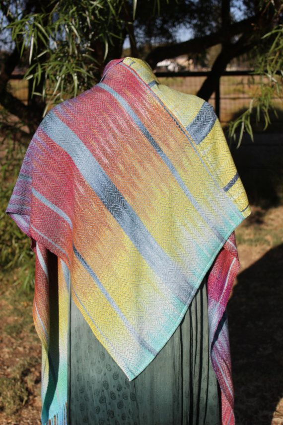 Handwoven Shawl Wrap  Hand Woven V-Shawl by KarenDriscollWeaving