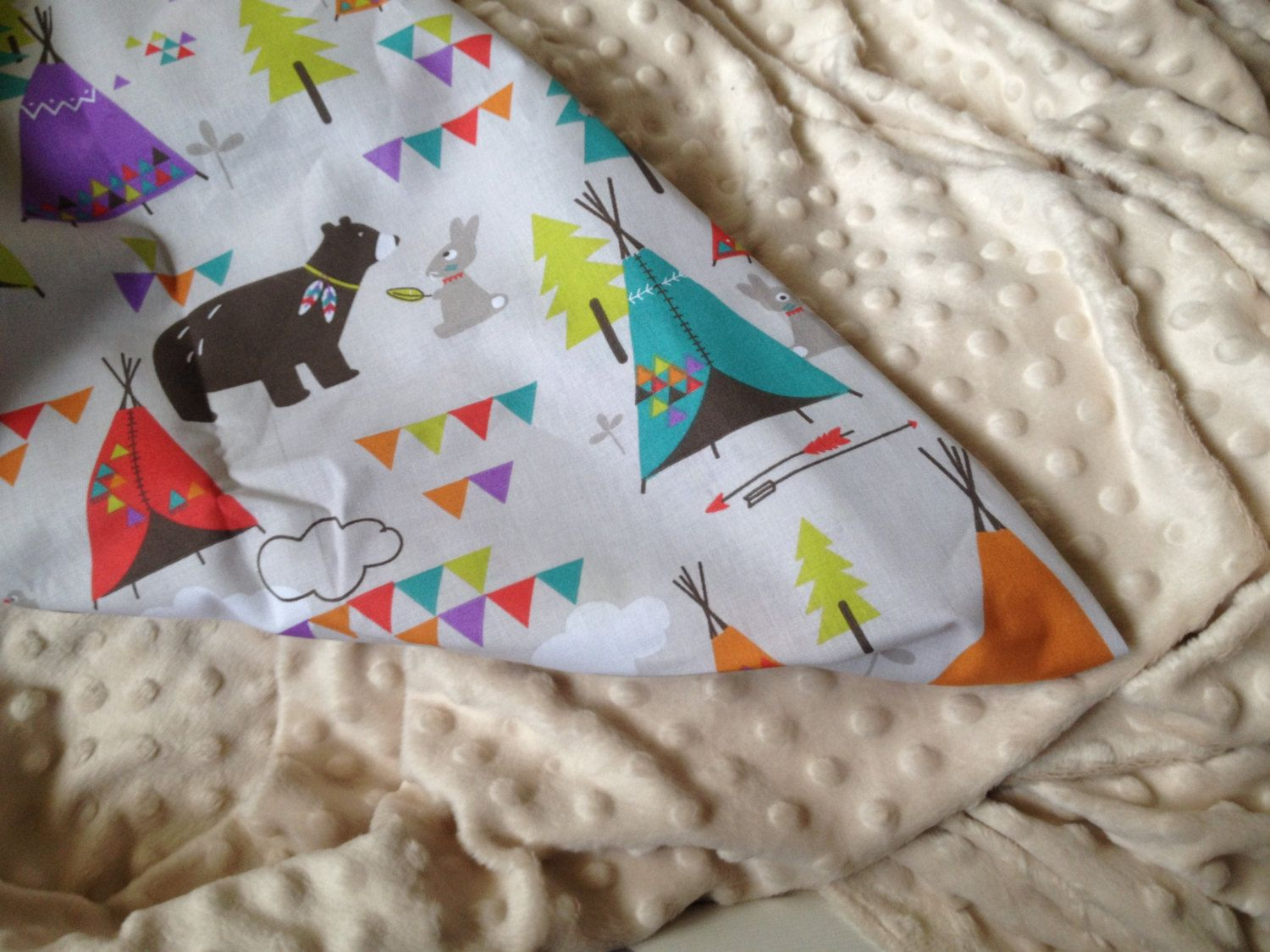 woodland print cotton blanket 70cm x 90cm