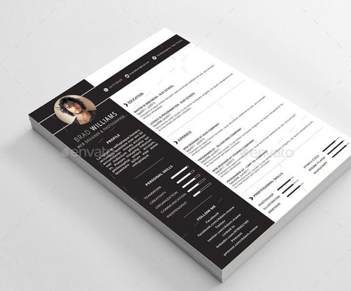 24 templates de cv sur photoshop cv template and template cv template psd yelopaper Gallery