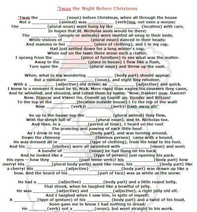 Night Before Christmas Mad Libs Printable Christmas Poems Funny Christmas Poems Christmas Mad Libs