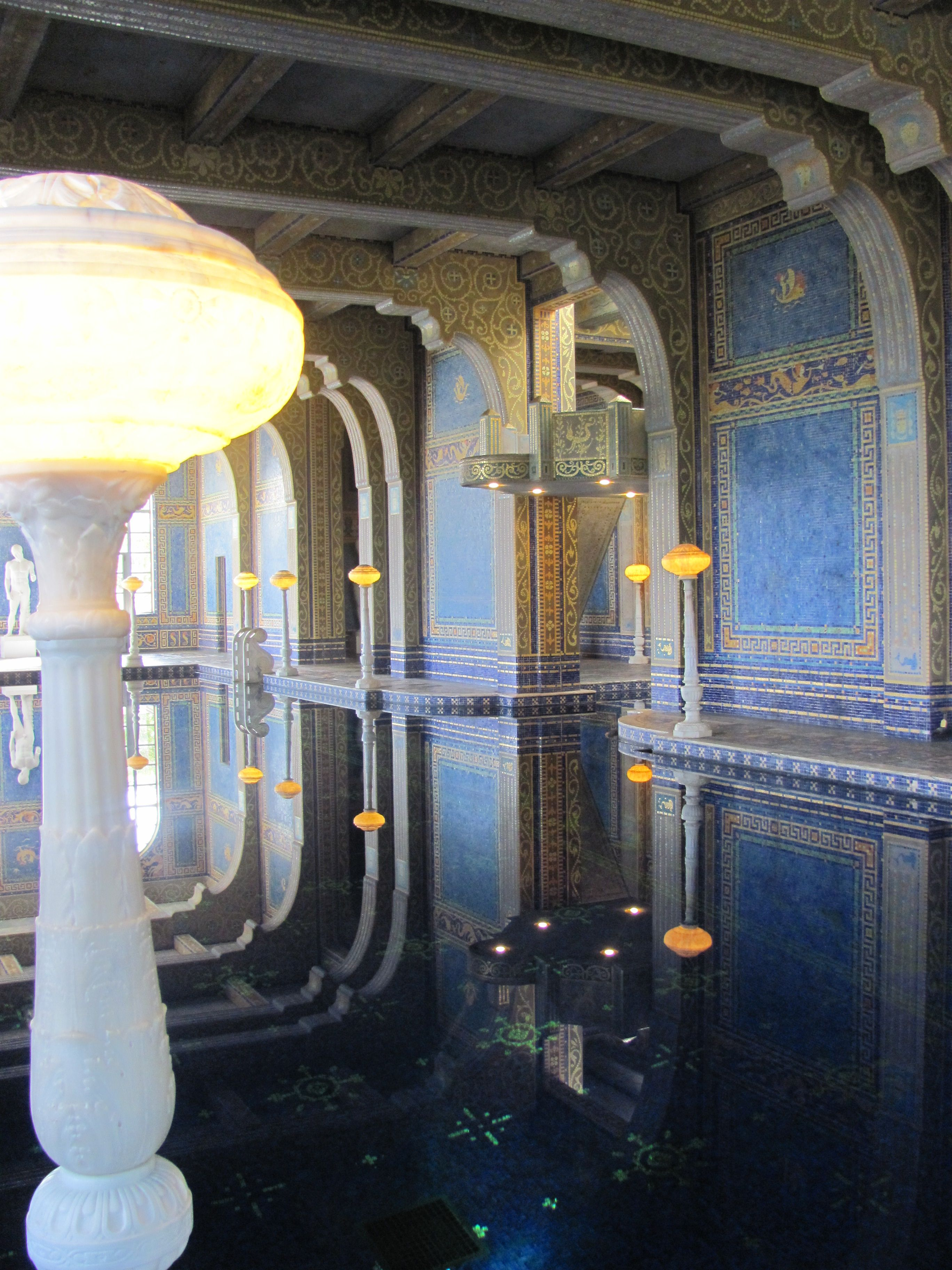 Hearst castle alabaster and marble lights reflect in the - Hearst castle neptune pool swim auction ...