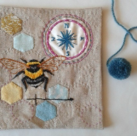 hand embroidery bee and mini patchwork hexies