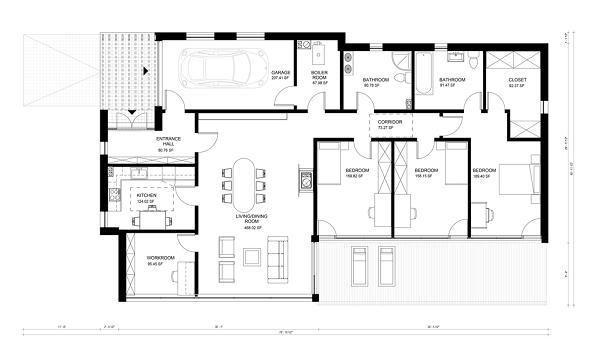 Plano casa moderna de tres dormitorios y 176 metros for Casa moderna 50 metros cuadrados