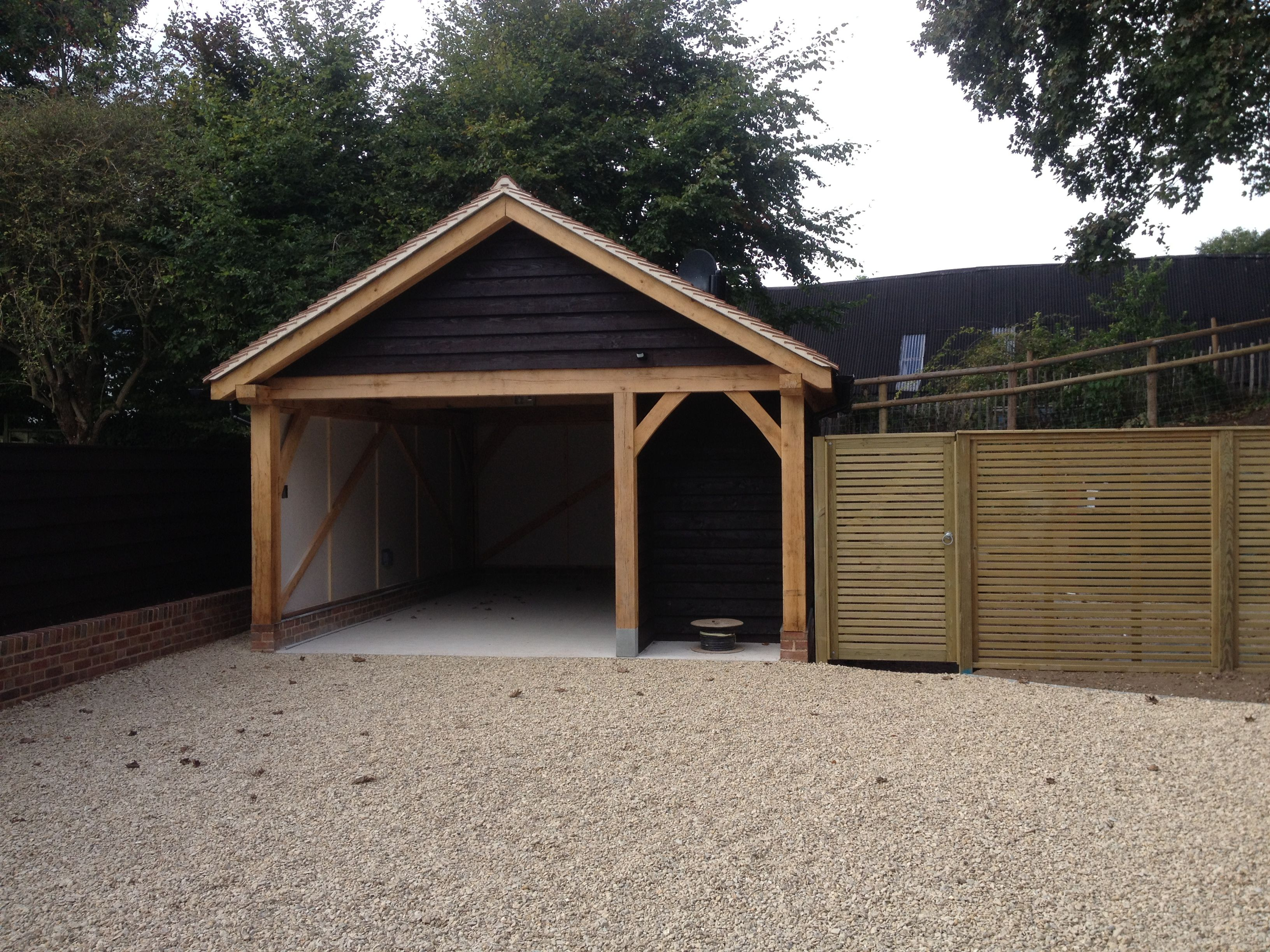 1 Bay Oak Frame Garage With Log Store And Plant Room  Www.heritageoakframes.co