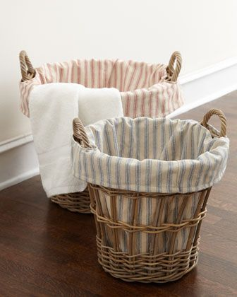Wicker Laundry Baskets With Ticking Stripe Liners By French