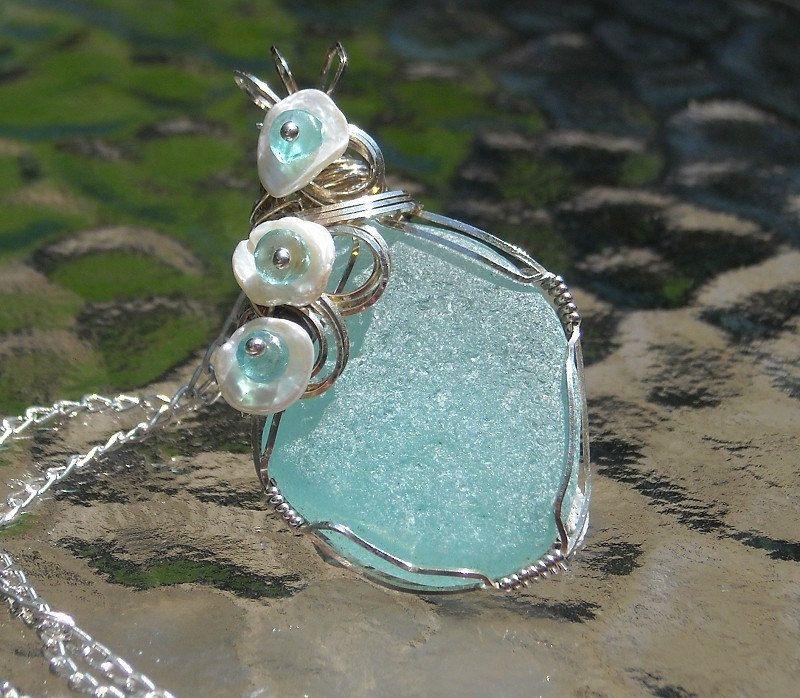 Summer Sea Glass Necklace Pendant  Beach Jewelry
