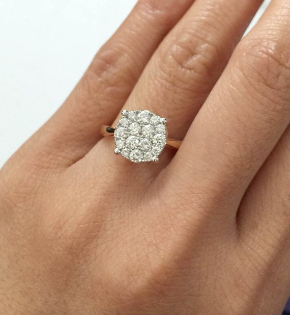 18k Rose Gold Cluster Illusion Round Ring Solitaire Engagement