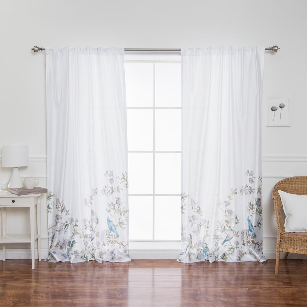 Best Home Fashion Faux Silk Bluebird Patterned Rod Pocket White Curtain Panel 84 In L X 52 In W 2 Pack Yg 21 Rdp Birdbttm 84 White Paneling Panel Curtains White Curtains