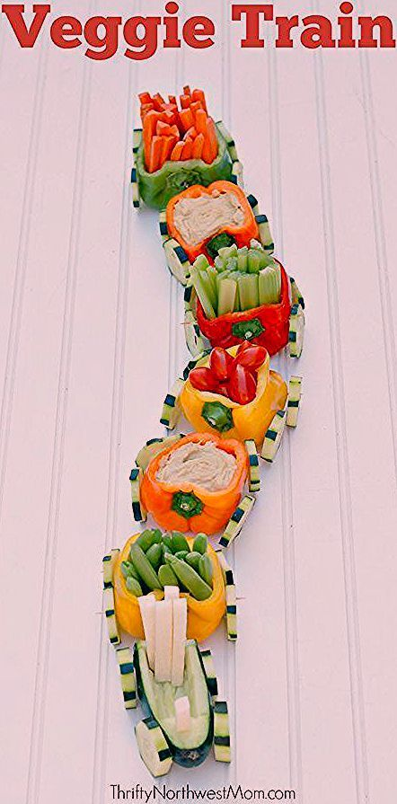 Veggie Train with Hummus Dip - Kid-Friendly Appetizer for Parties - Courtney Schorr - #Appetizer #Courtney #DIP #Hummus #Kidfriendly #parties #Schorr #Train #Veggie