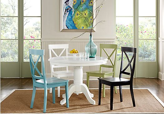Kitchen Table I Want From Rooms To Go Emory Heights White 5Pc Round Dining Room Sets Furniture