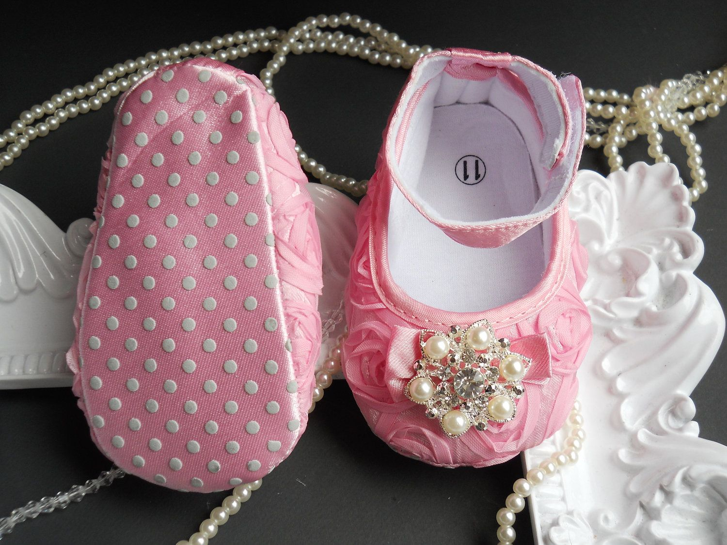Baby+Girl+Pink++Satin+Rosette+Crib+Shoes+by+TheBabyBellaBoutique,+$22.50