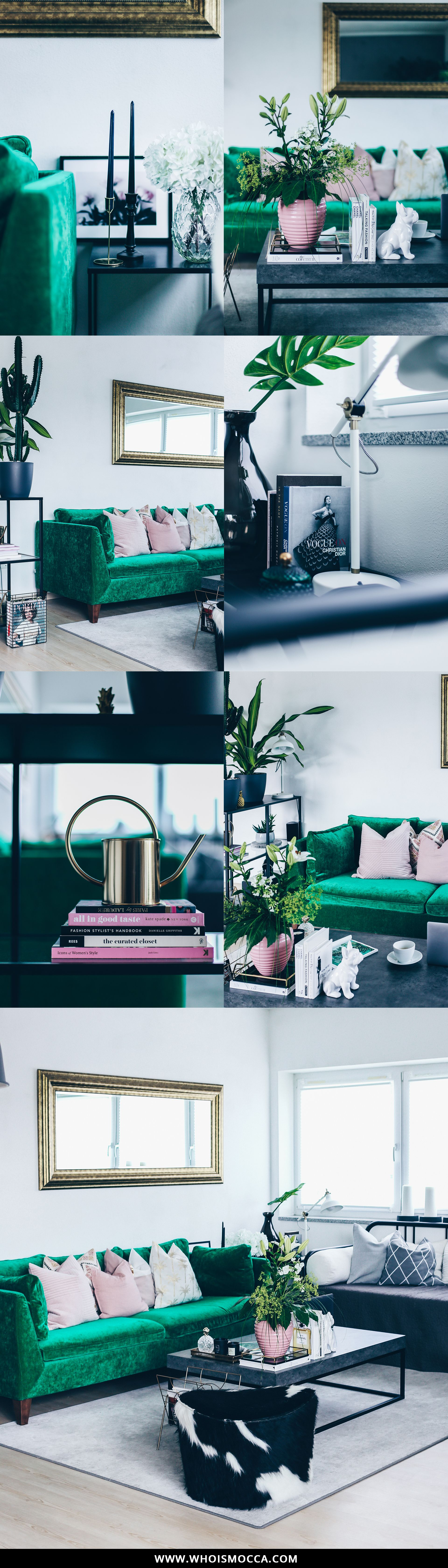 Sofa Im Industrial Chic Mit Beton Couchtisch, Industrial Teppich, Grünes  Sofa, Ikea