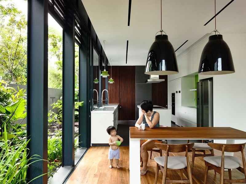 A Corner Terrace House For A Family In Singapore House Renovation Design House Design Terrace House
