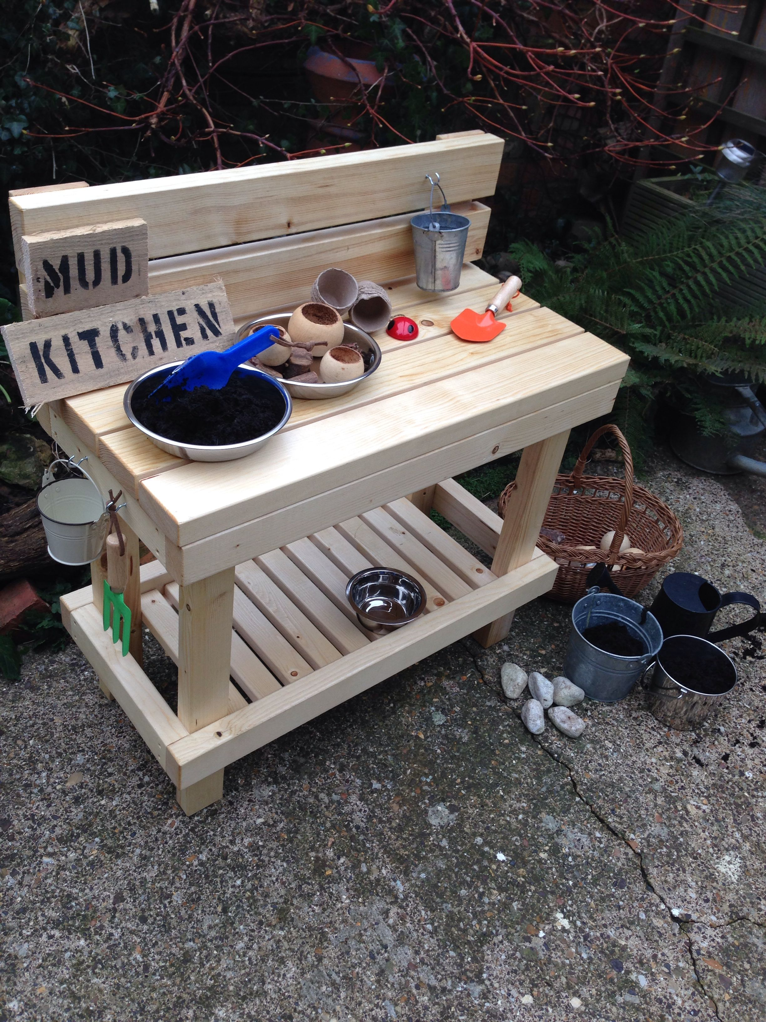 Mud kitchen imaginary outdoor play solid wood protected