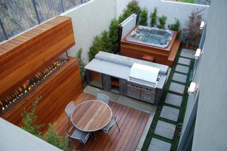 Aménagement de jardin et terrasse moderne en 42 photos Foyer au - amenagement jardin avec spa