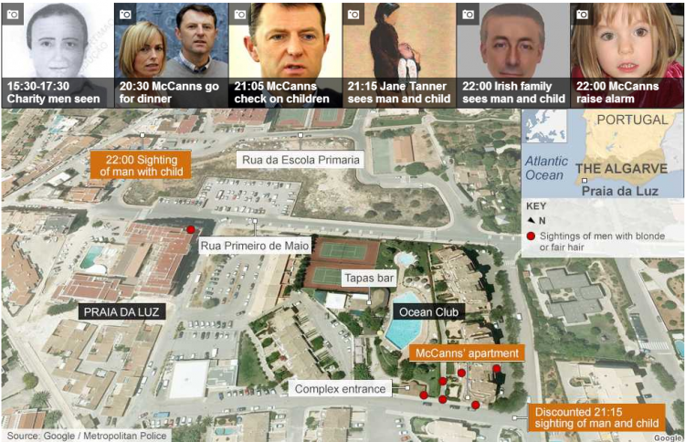 Madeleine McCann: Timeline and search maps