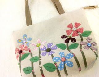 Uniquely yours by lilian zipper tote bag with flower applique
