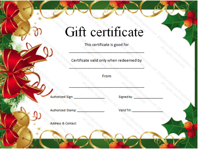 Christmas Gift Certificate Templates Template Pinterest Gift