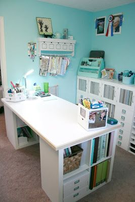 Well I Ve Saved The Best For Last This Is My Favorite Area Of The Room My Scrap Desk Area It S Just To T Craft Room Desk Dream Craft Room Craft Room