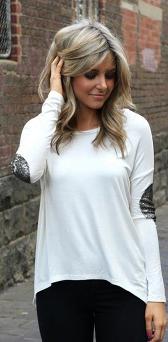 white shirt with sequined elbow