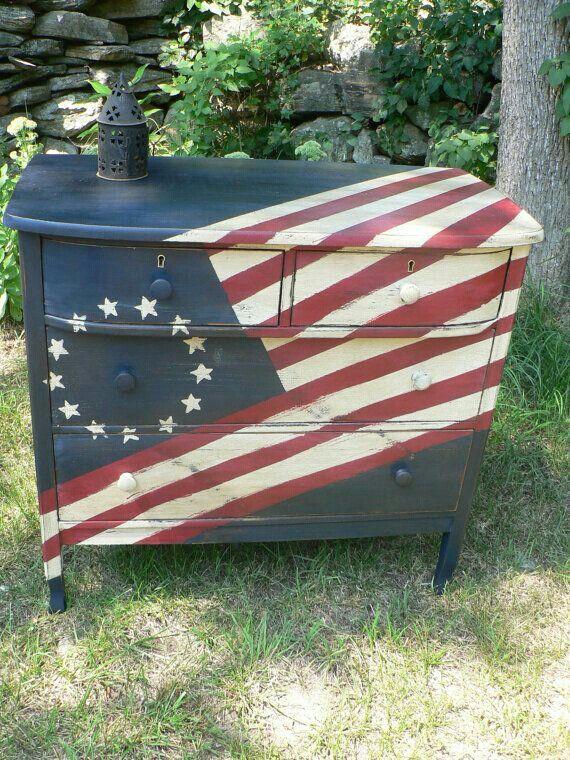 Flag Painted Dresser Americana Decor
