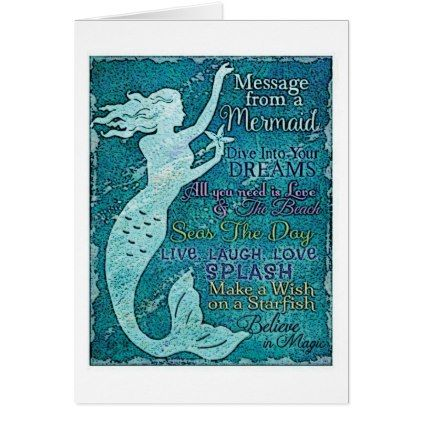 Mermaid Message Greeting Card Zazzle Com Birthday Greeting Cards Greeting Cards Custom Greeting Cards