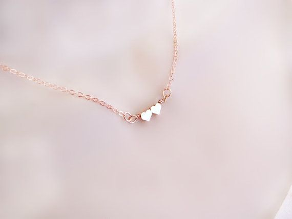 f7f4a667c VALENTINES SALE Tiny Rose Gold Double Heart Necklace, Dainty Rose Gold  Necklace, Delicate Necklace, Couples Jewelry, Friendship Jewelry, Mot.
