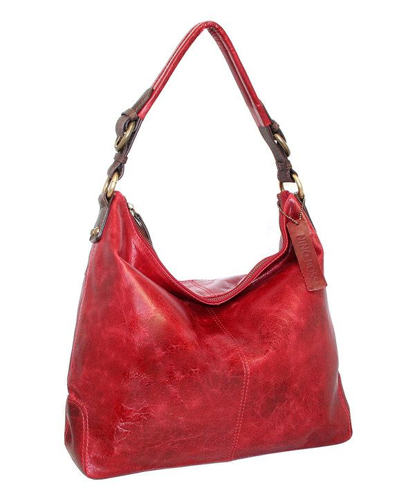 Look at this Nino Bossi Handbags Red Havana Nights Leather Hobo on #zulily today!