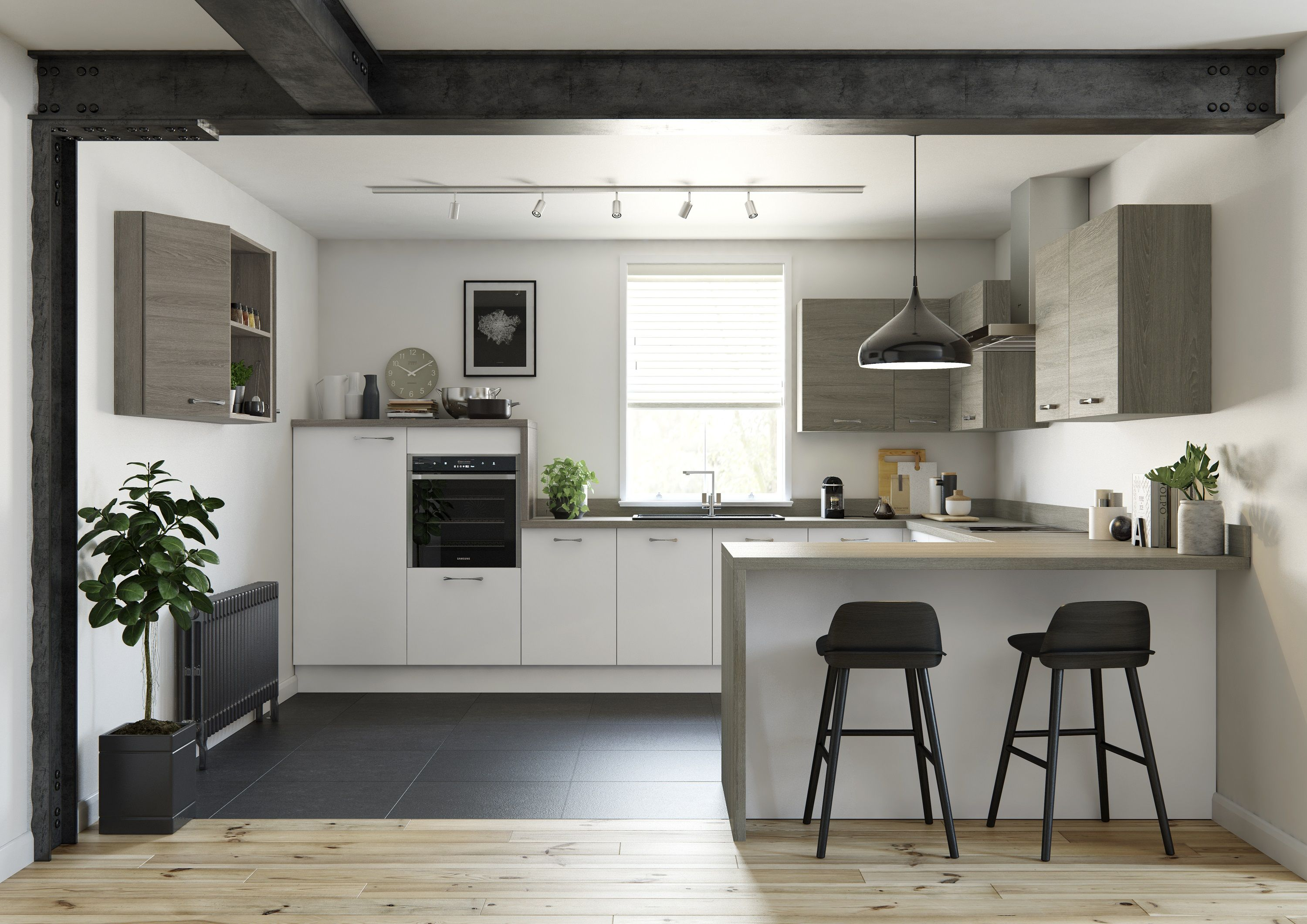 Trend Kitchens White Slab and Oak Grey Kitchen prices