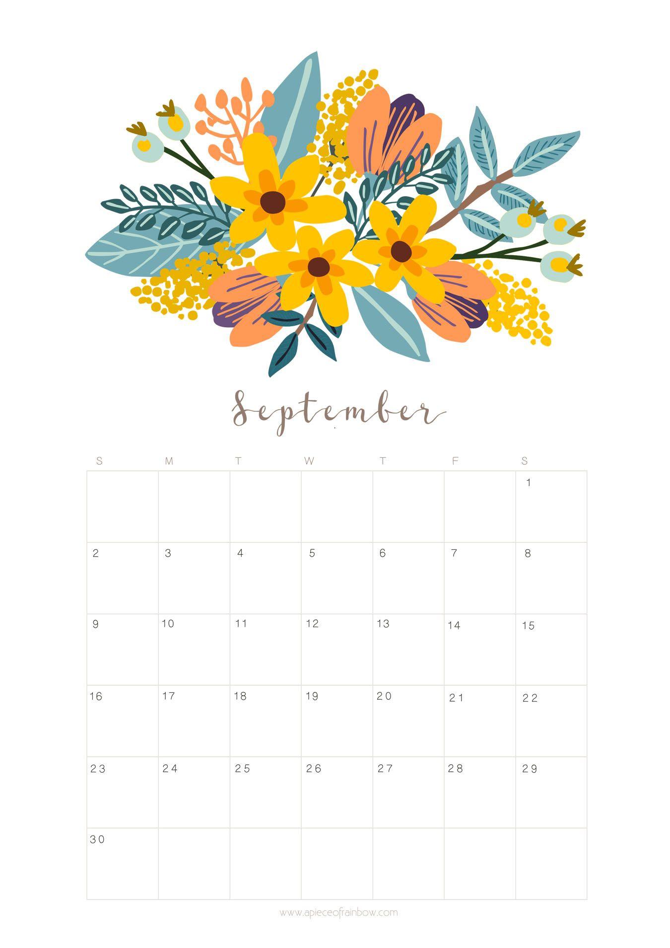 Printable September 2018 Calendar Monthly Planner – Floral ...