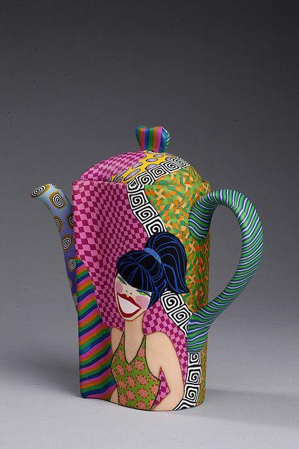 Retro Lady Teapot by Wanda's Designs, via Flickr