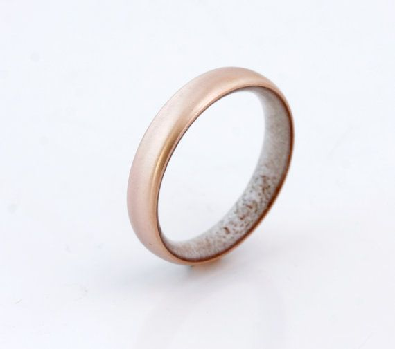 Copper Wedding Band Antler Ring Antler Man Ring Engagement