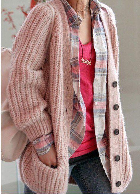 Street Style V Neck Long Sleeves Heavy Knit Pink Cardigan