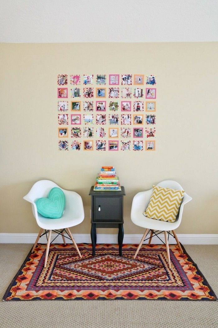 Fotowand Selber Gestalten Wanddekoration Skandinavische Stühle Bunter  Teppich
