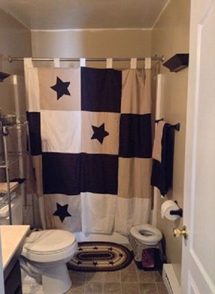 Handmade Primitive Star Shower Curtain Black Tan Cream1