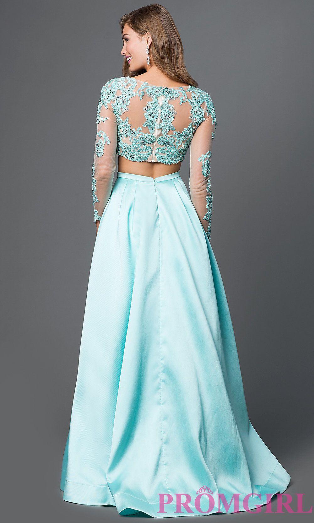 Long Sleeve Sherri Hill Two Piece Dress in Aqua | All Dressed Up ...