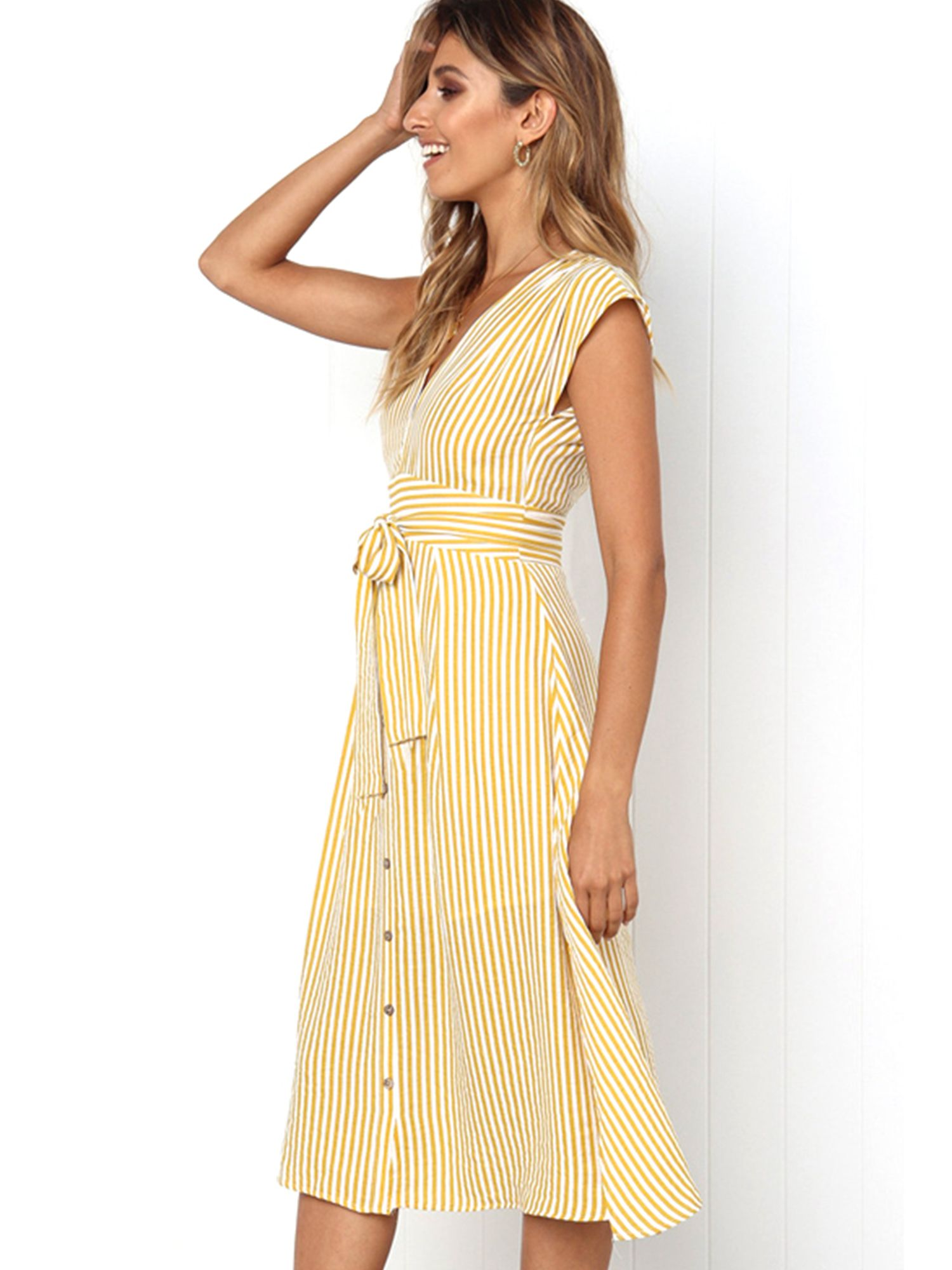 Wodstyle Women S Sleeveless V Neck Casual Party Beach Midi Dress Walmart Com Casual Dress Outfits Casual Dresses For Women Striped Dress Fall [ 2000 x 1500 Pixel ]