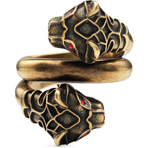 Gucci Tiger Head Ring 325 liked on Polyvore featuring jewelry